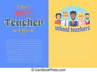 két, ábra, téma, vektor, plakátok, tanár