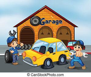 két, úriemberek, noha, eszközök, -ban, a, garázs