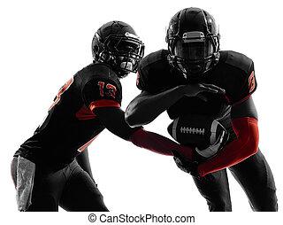 két, amerikai futball, játékosok, elmenő, játék, akció,...