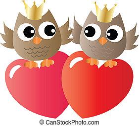 két, baglyok, szerelemben