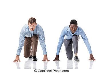 két, businessmen, képben látható, a, elkezd megtölt