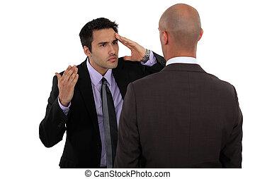 két, businessmen, nem ért, szemtől szembe