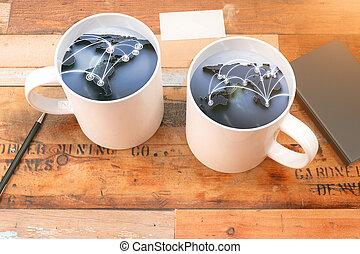 két, csésze kávécserje