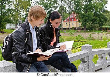 két, diákok, tanulás, szabadban