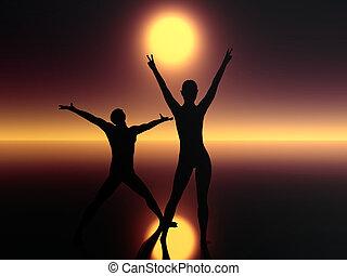 két ember, alatt, sötétség, imádkozás