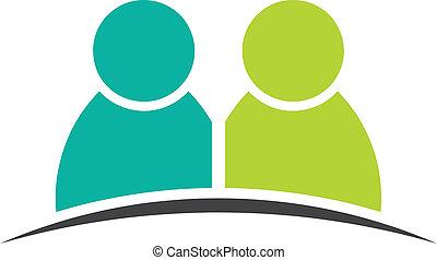 két ember, friends., csoport, közül, személy