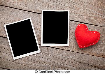 két, fénykép keret, és, valentines nap, játékszer, szív