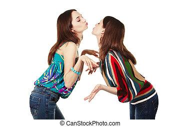 két, fiatal, bájos, lány, csókolózás