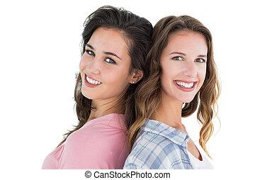 két, fiatal, női, portré, boldog, barátok, szegély kilátás