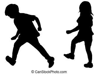 két, futás, gyerekek