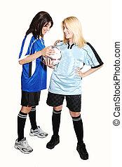 két, futball, lány, noha, ball.
