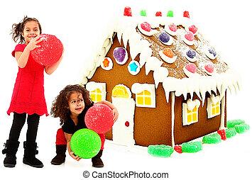 két, gyönyörű, preschool, afrikai, spanyol, lánytestvér, épület, óriási, csiricsáré épület, felett, fehér, háttér.