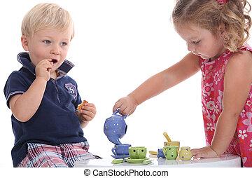 két gyerek, játék, -ban, tea buli
