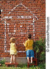 két gyerek, rajz, egy, épület