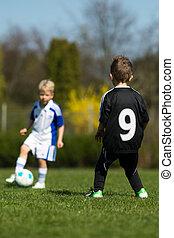 két, gyerekek, játék futball