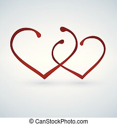 két, hearts., boldog, valentines, day.