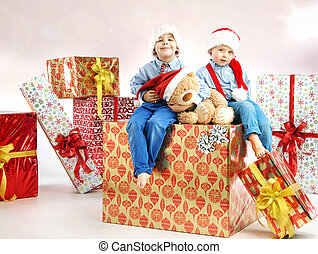 két, kevés, fivérek, közé, ajándékoz