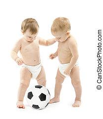 két, kisbabák, játék futball, labda, felett, fehér, háttér., gyerekek, fizikai, kialakulás