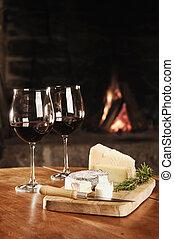 két, lakályos, szemüveg, kandalló, vörös bor