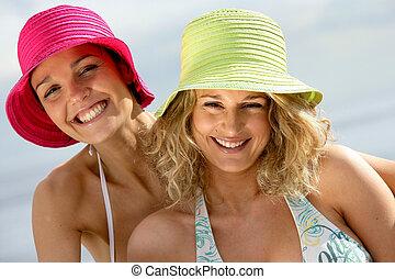 két, női, barátok, having móka, tengerpart