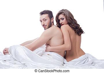 két, nemi, partner, feltevő, meztelen, ágyban