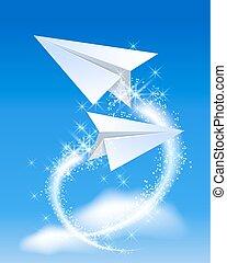 két, papír repülőgép