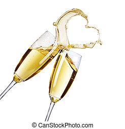 két, pezsgő pohár, noha, elvont, loccsanás