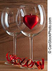 két, pohár bor, és, piros szív