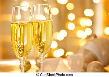 két, pohár pezsgő, állhatatos, képben látható, egy, karácsony, asztal