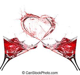 két, pohár piros bor, elvont, szív, loccsanás