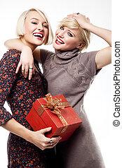 két, szőke, szépségek, birtok, egy, christmas ajándék