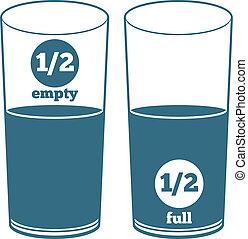 két, szemüveg, noha, víz