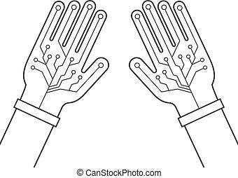 két, tényleges, pár kesztyű, híg, kézbesít, fekete, egyenes