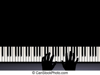 két, zene, kézbesít, zongora, játék, játék