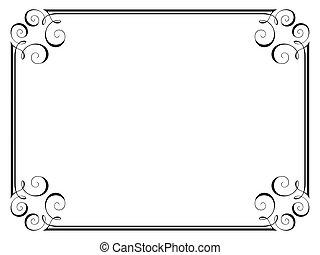 kézírás, díszítő, dekoratív, keret