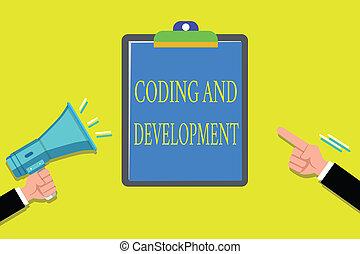 kézírás, szöveg, írás, becikkelyezés, és, development., fogalom, jelentés, programozás, épület, egyszerű, gyűlés, napirendek