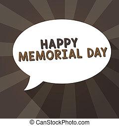 kézírás, szöveg, írás, boldog, emlékmű, day., fogalom, jelentés, honorálás, remembering, azok, ki, meghal, alatt, hadi, szolgáltatás