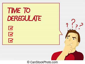 kézírás, szöveg, idő, fordíts, deregulate., fogalom, jelentés, kormány, eltávolít, előírások, alatt, egészségügyi ellátás, szolgáltatás