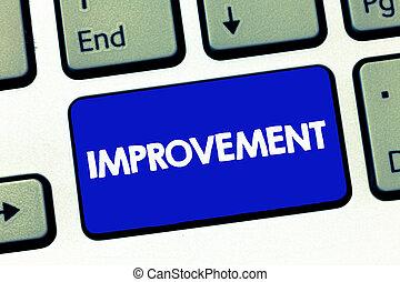 kézírás, szöveg, improvement., fogalom, jelentés, csinál, ruhanemű, jobb, nő, különleges, átalakul, újítás, előrehalad