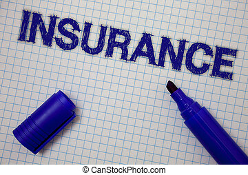 kézírás, szöveg, insurance., fogalom, jelentés, politika, helyett, anyagi, oltalom, vagy, visszafizetés, ellen, veszteség, egyenesen, jegyzetfüzet, oldal, gondolat, üzenet, kék, nyílik, könyvjelző, rács, háttér.