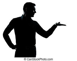 kéz, árnykép, nyílik, ember, ügy, egy