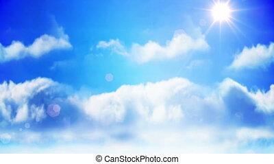 kéz, átnyújtás, épület, felhő, tervezés