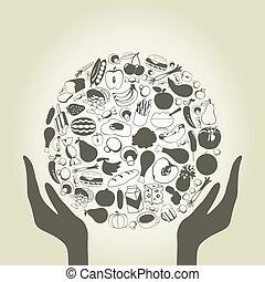 kéz, élelmiszer