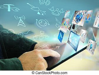 kéz, érint, társadalmi, média, hálózat, fogalom