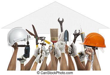 kéz, és, saját munka, szerszám, ellen, épület, motívum, backgroud, alkalmaz, f