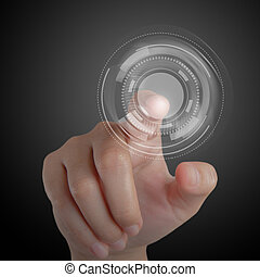 kéz, és, touchscreen, technológia