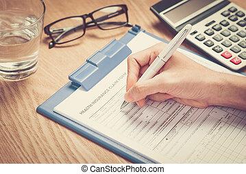 kéz, írja, a, személyes, értesülés, képben látható, a, health biztosítás, állít, forma