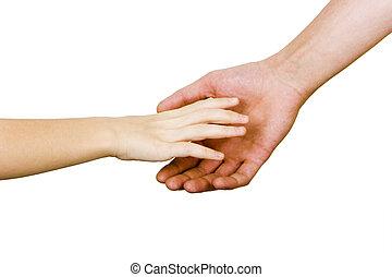 kéz, bábu, elér, gyermekek