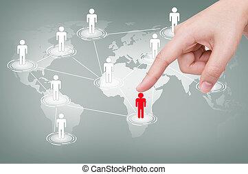 kéz, csákány, piros, ember, közül, társadalmi, hálózat