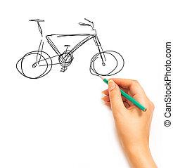 kéz, csalogat, egy, bicikli